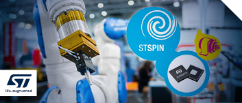 Robotic arms with ST logo and STPSIN logo