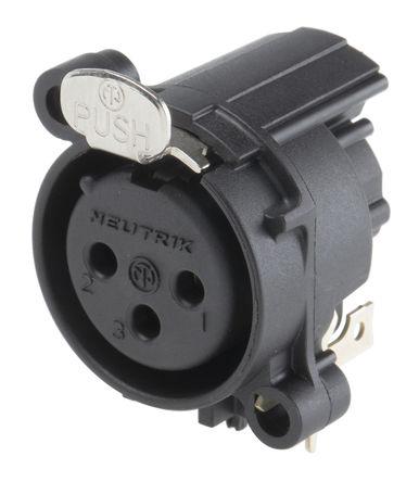 黑色3路 直角 插座 印刷电路板安装 xlr 连接器, 镀金钴镀化学镀镍