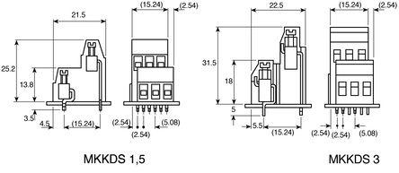 连接器,印刷电路板,双电平,螺钉接线端子块,5.08mm 节距,2x2 路
