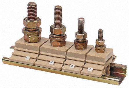主体由米色聚酰胺制成,钢接线柱包含 2 颗螺母、2 个垫圈和 1 个弹簧垫圈。 端子适合安装在符合 BS5825:1980. EN50035 EN50035。提供酚醛层压分区,以隔开每个接线柱,这些分区位于端子模侧面的插口上(请参见库存号 655-8858)。 引用的额定电压在位置中有分区。